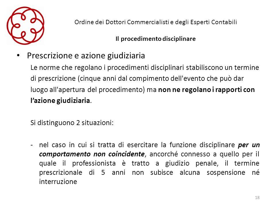 Ordine dei Dottori Commercialisti e degli Esperti Contabili Il procedimento disciplinare Prescrizione e azione giudiziaria Le norme che regolano i pro