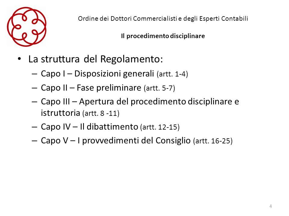 Ordine dei Dottori Commercialisti e degli Esperti Contabili Il procedimento disciplinare La struttura del Regolamento: – Capo I – Disposizioni general