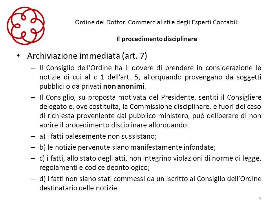 Ordine dei Dottori Commercialisti e degli Esperti Contabili Il procedimento disciplinare Archiviazione immediata (art. 7) – Il Consiglio dellOrdine ha