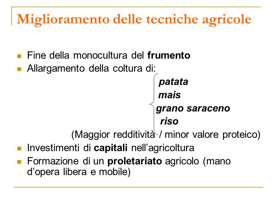 Miglioramento delle tecniche agricole Fine della monocultura del frumento Allargamento della coltura di: patata mais grano saraceno riso (Maggior redd