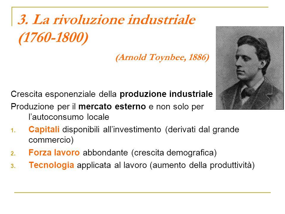 3. La rivoluzione industriale (1760-1800) (Arnold Toynbee, 1886) Crescita esponenziale della produzione industriale Produzione per il mercato esterno