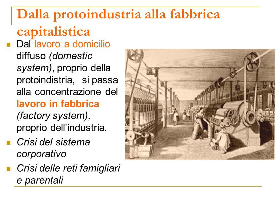 Dalla protoindustria alla fabbrica capitalistica Dal lavoro a domicilio diffuso (domestic system), proprio della protoindistria, si passa alla concent