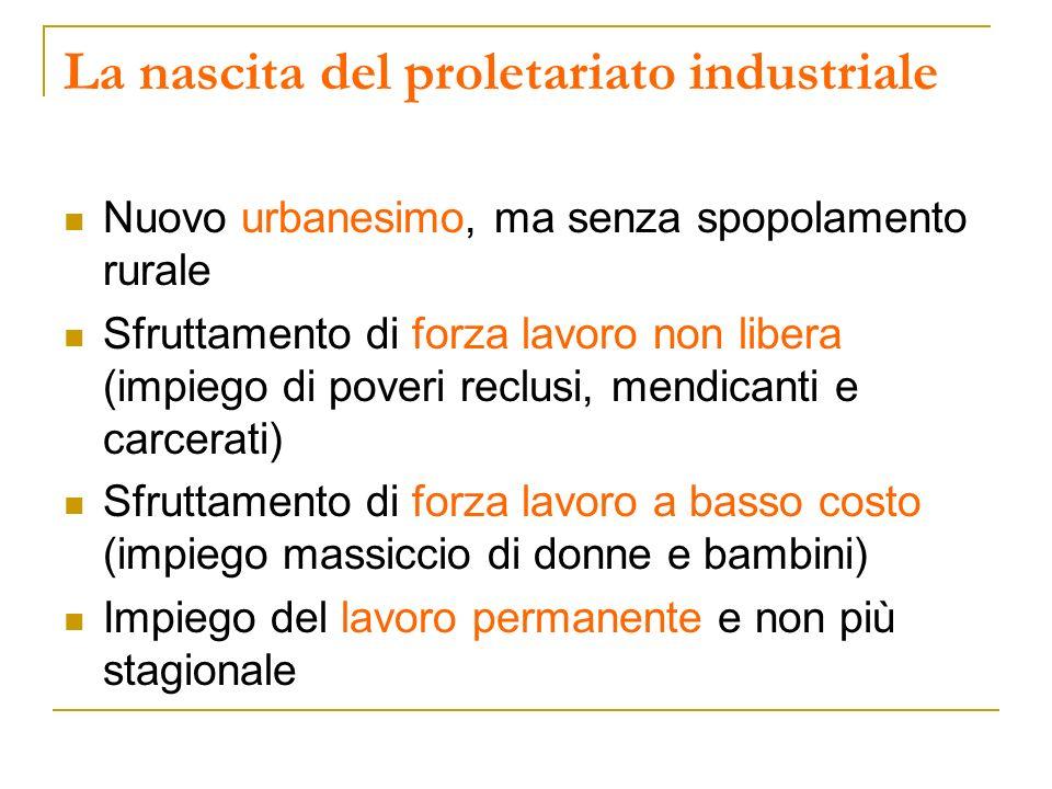 La nascita del proletariato industriale Nuovo urbanesimo, ma senza spopolamento rurale Sfruttamento di forza lavoro non libera (impiego di poveri recl