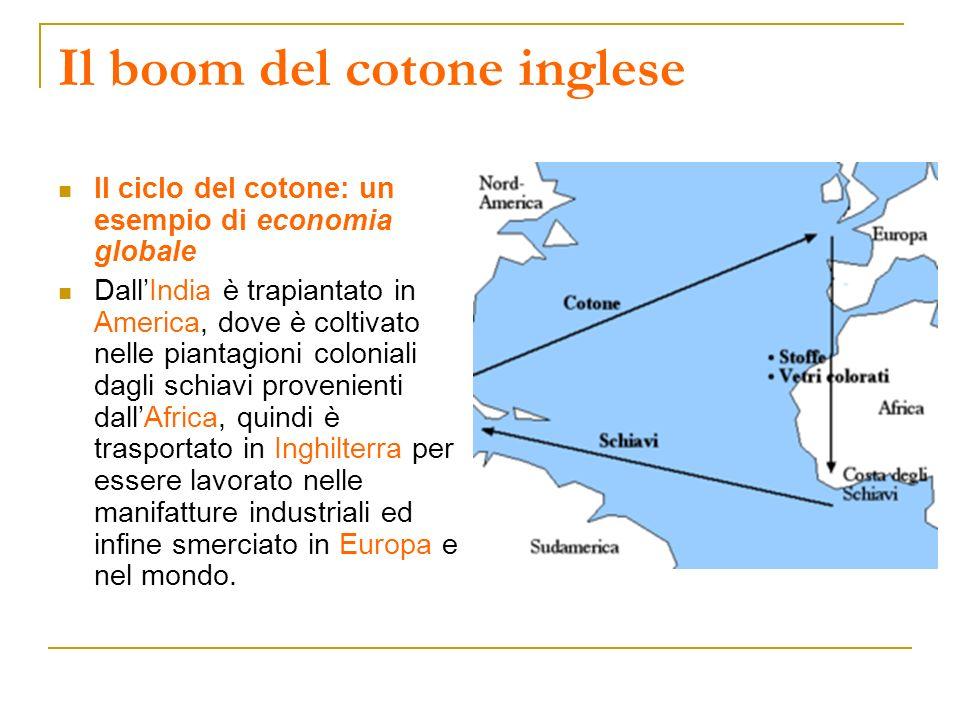 Il boom del cotone inglese Il ciclo del cotone: un esempio di economia globale DallIndia è trapiantato in America, dove è coltivato nelle piantagioni
