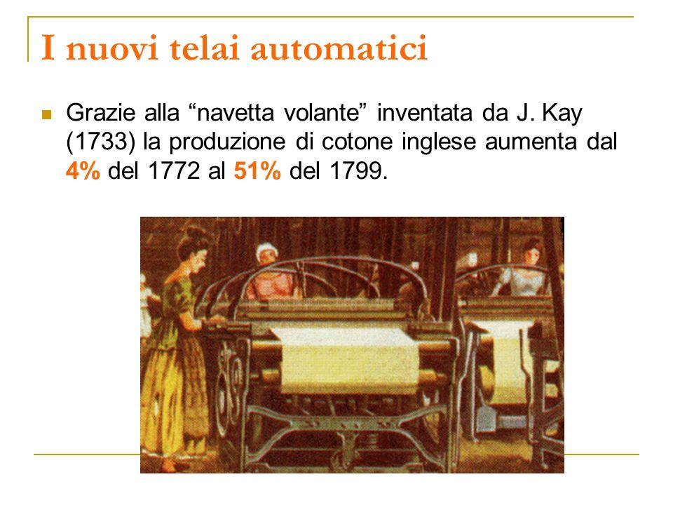 I nuovi telai automatici Grazie alla navetta volante inventata da J. Kay (1733) la produzione di cotone inglese aumenta dal 4% del 1772 al 51% del 179