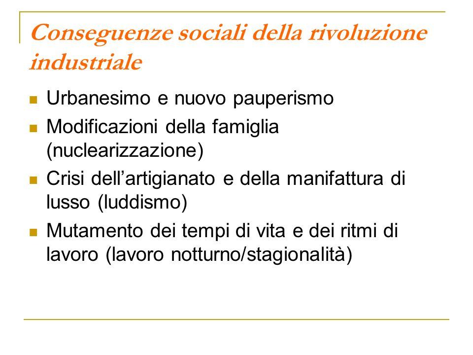 Conseguenze sociali della rivoluzione industriale Urbanesimo e nuovo pauperismo Modificazioni della famiglia (nuclearizzazione) Crisi dellartigianato