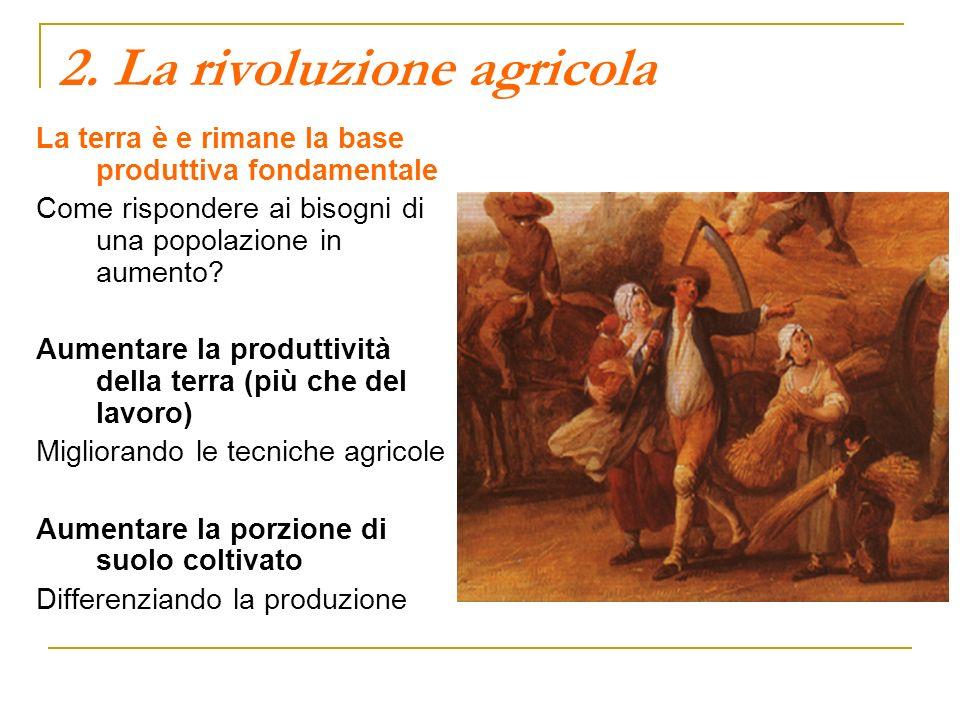 2. La rivoluzione agricola La terra è e rimane la base produttiva fondamentale Come rispondere ai bisogni di una popolazione in aumento? Aumentare la