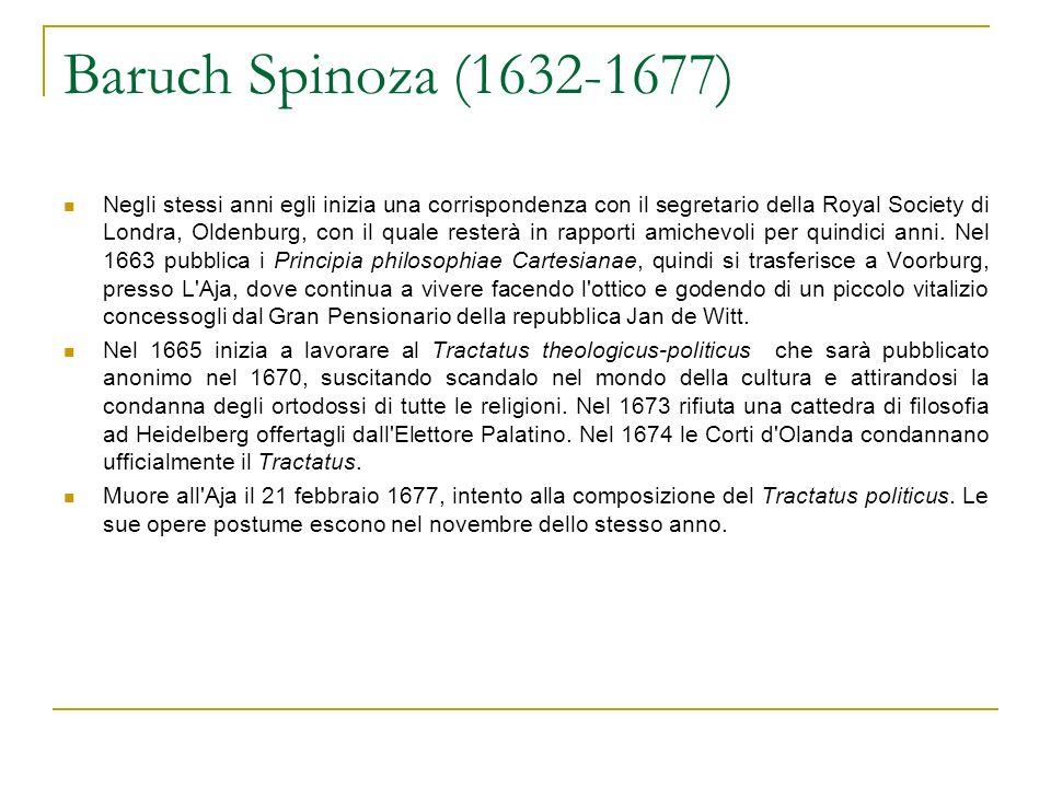 Baruch Spinoza (1632-1677) Negli stessi anni egli inizia una corrispondenza con il segretario della Royal Society di Londra, Oldenburg, con il quale resterà in rapporti amichevoli per quindici anni.