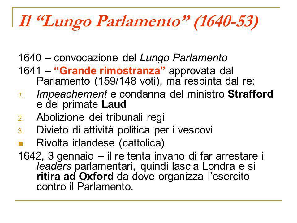 Il Lungo Parlamento (1640-53) 1640 – convocazione del Lungo Parlamento 1641 – Grande rimostranza approvata dal Parlamento (159/148 voti), ma respinta