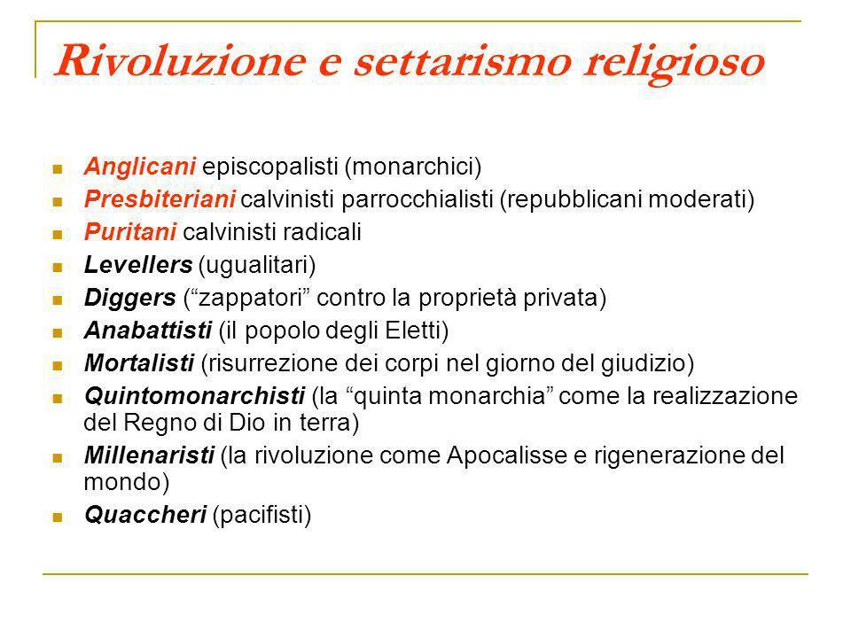 Rivoluzione e settarismo religioso Anglicani episcopalisti (monarchici) Presbiteriani calvinisti parrocchialisti (repubblicani moderati) Puritani calv
