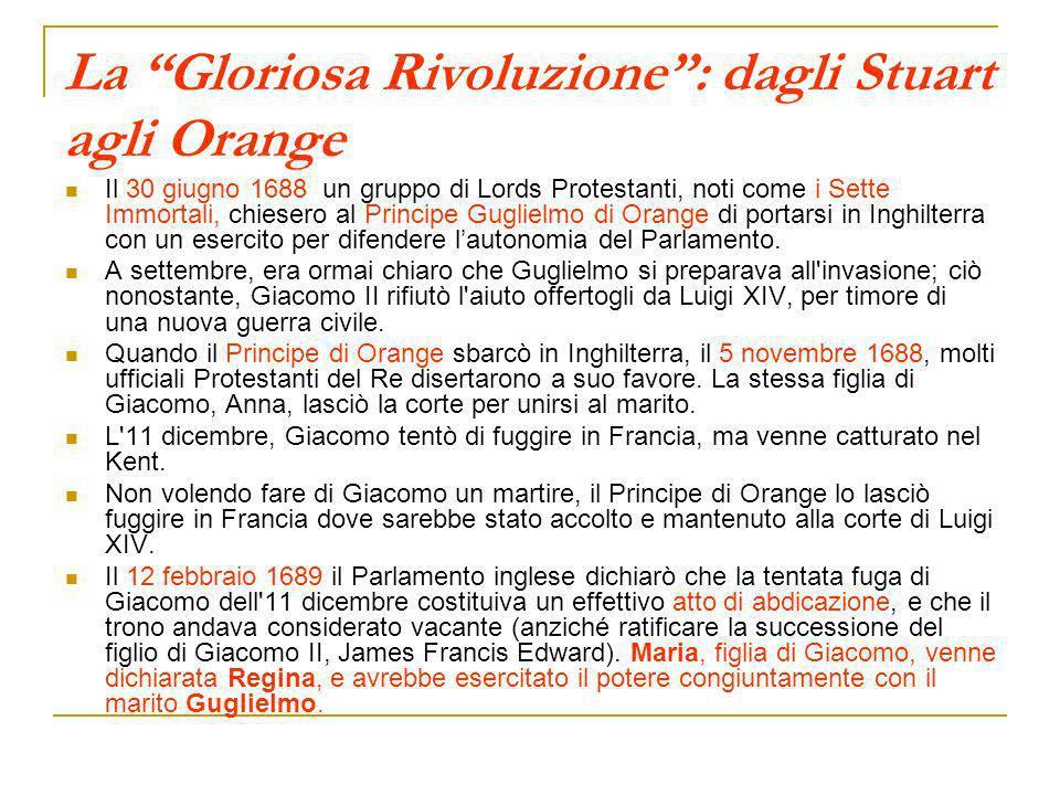 La Gloriosa Rivoluzione: dagli Stuart agli Orange Il 30 giugno 1688 un gruppo di Lords Protestanti, noti come i Sette Immortali, chiesero al Principe
