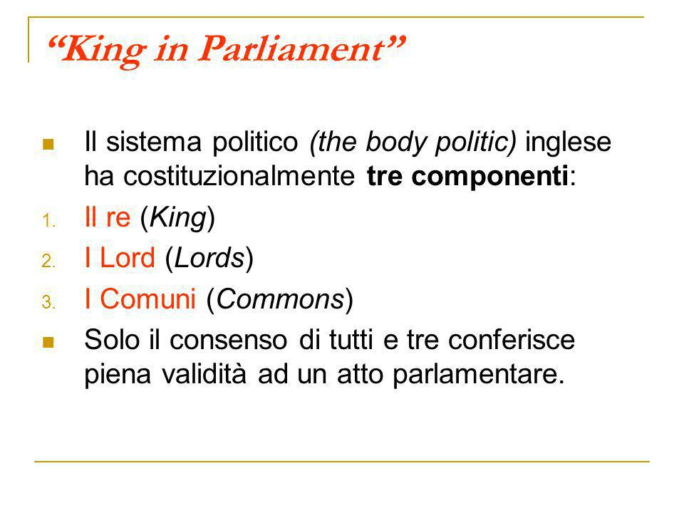 King in Parliament Il sistema politico (the body politic) inglese ha costituzionalmente tre componenti: 1. Il re (King) 2. I Lord (Lords) 3. I Comuni