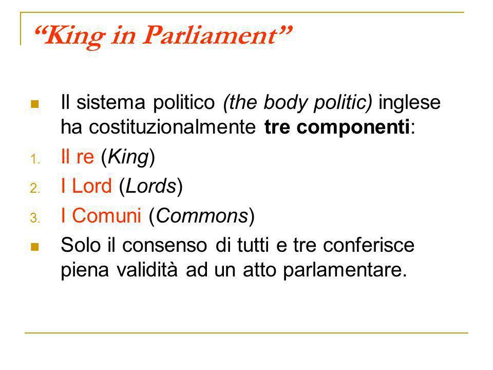 Il sistema parlamentare inglese Camera dei Lords Ereditaria 126 Lords Ne fanno parte di diritto solo i Pari dInghilterra (duchi, marchesi, conti, visconti, baroni), gli alti magistrati e i Vescovi anglicani.