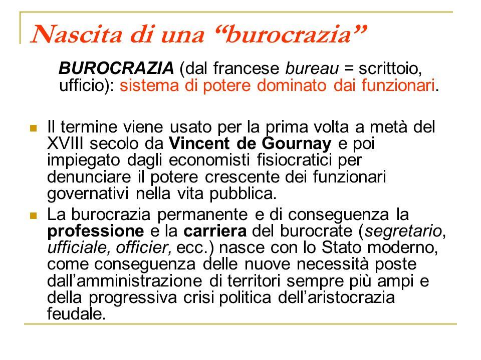 Nascita di una burocrazia BUROCRAZIA (dal francese bureau = scrittoio, ufficio): sistema di potere dominato dai funzionari. Il termine viene usato per