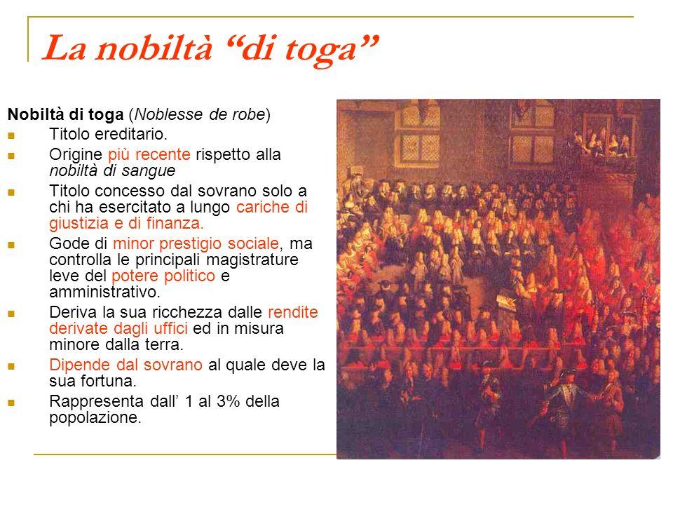La nobiltà di toga Nobiltà di toga (Noblesse de robe) Titolo ereditario. Origine più recente rispetto alla nobiltà di sangue Titolo concesso dal sovra