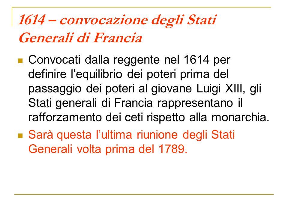 1614 – convocazione degli Stati Generali di Francia Convocati dalla reggente nel 1614 per definire lequilibrio dei poteri prima del passaggio dei pote