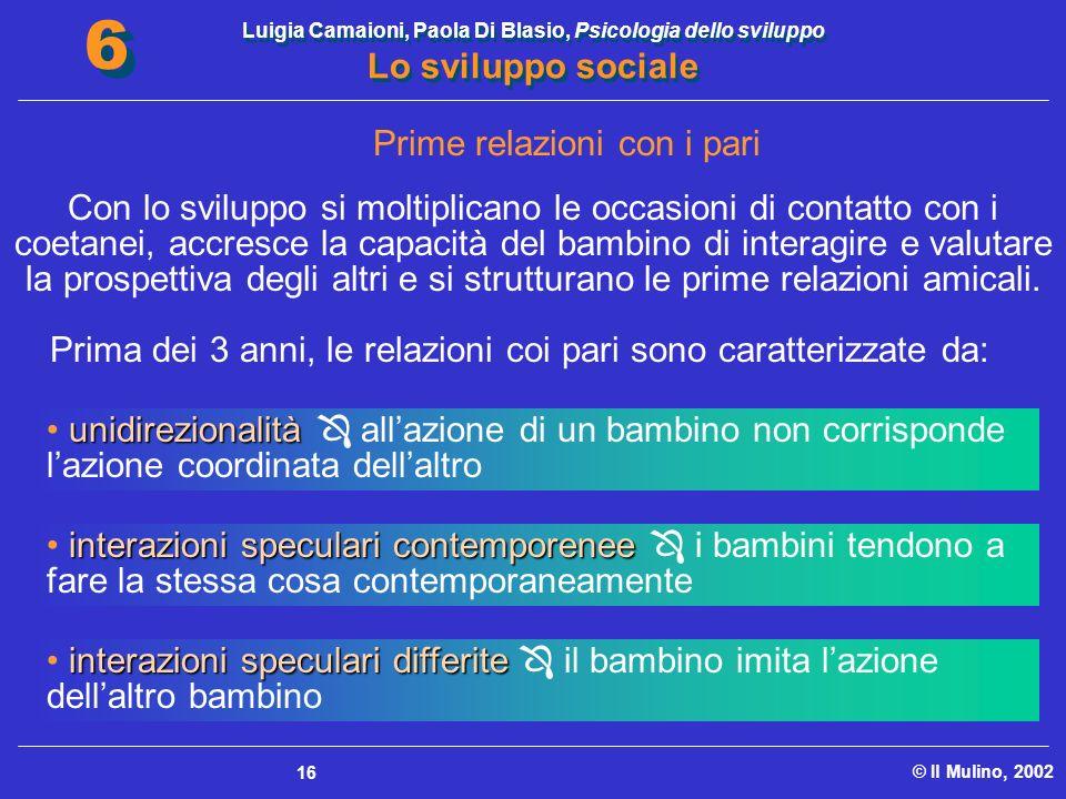 Luigia Camaioni, Paola Di Blasio, Psicologia dello sviluppo Lo sviluppo sociale © Il Mulino, 2002 6 6 16 Prime relazioni con i pari Con lo sviluppo si