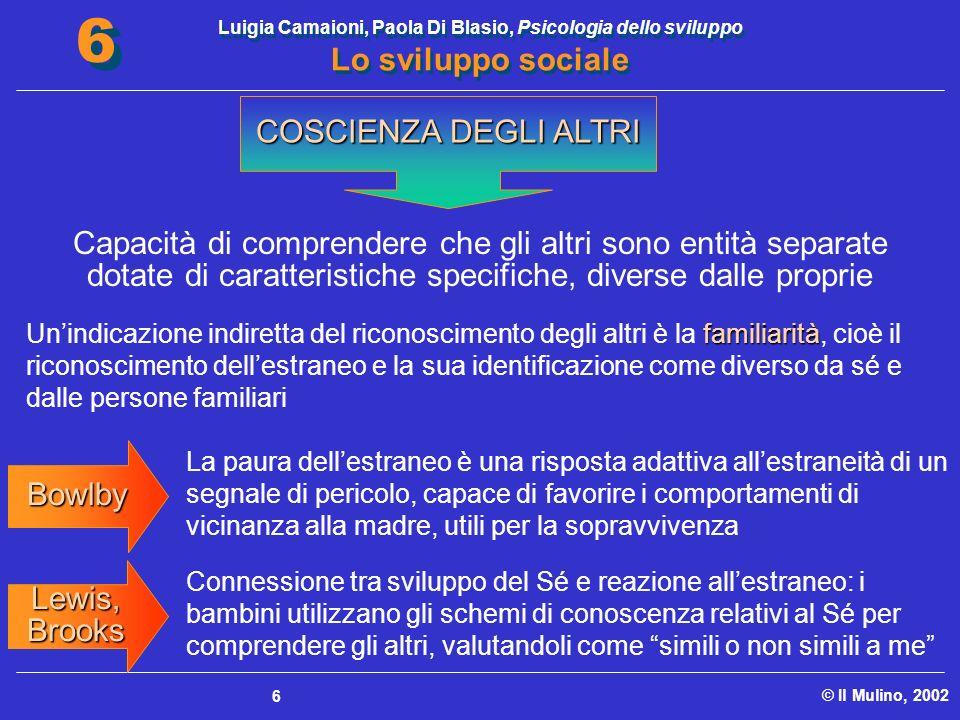 Luigia Camaioni, Paola Di Blasio, Psicologia dello sviluppo Lo sviluppo sociale © Il Mulino, 2002 6 6 6 Capacità di comprendere che gli altri sono ent