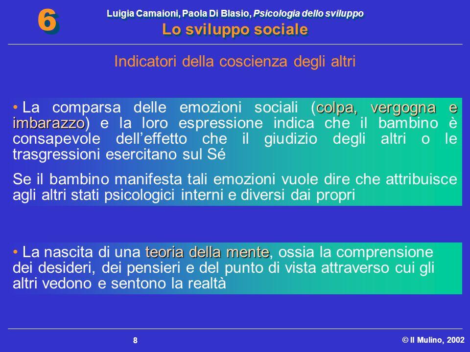 Luigia Camaioni, Paola Di Blasio, Psicologia dello sviluppo Lo sviluppo sociale © Il Mulino, 2002 6 6 8 Indicatori della coscienza degli altri colpa,