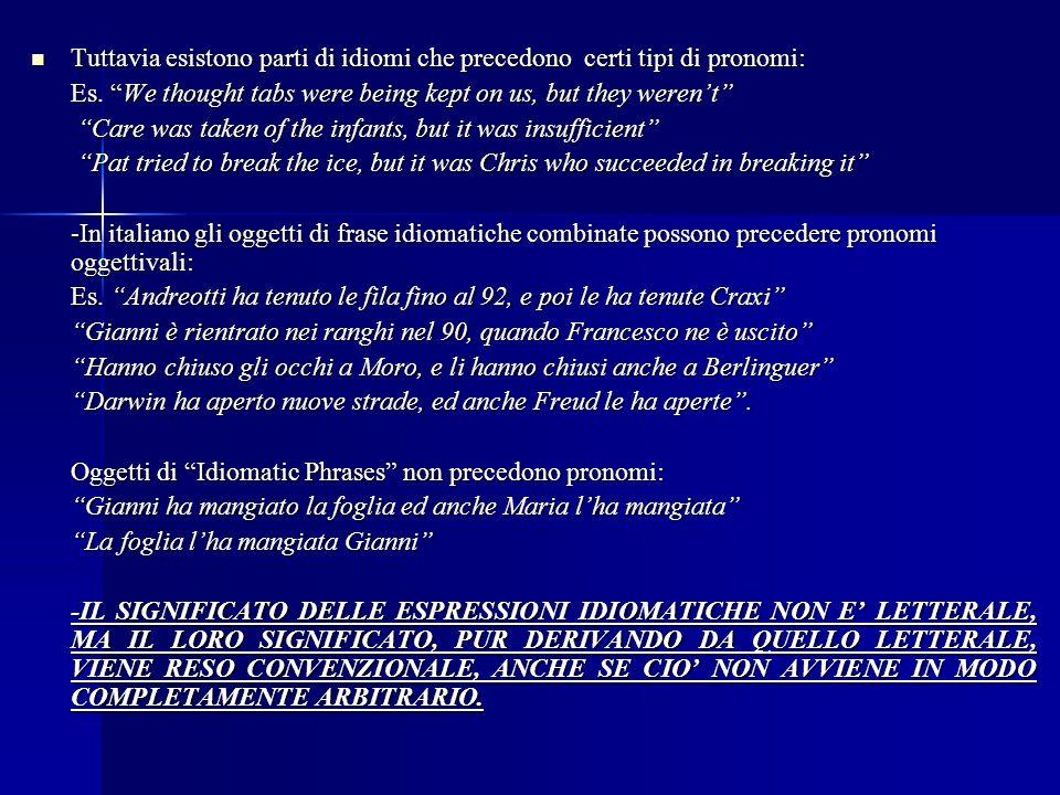 Tuttavia esistono parti di idiomi che precedono certi tipi di pronomi: Tuttavia esistono parti di idiomi che precedono certi tipi di pronomi: Es.