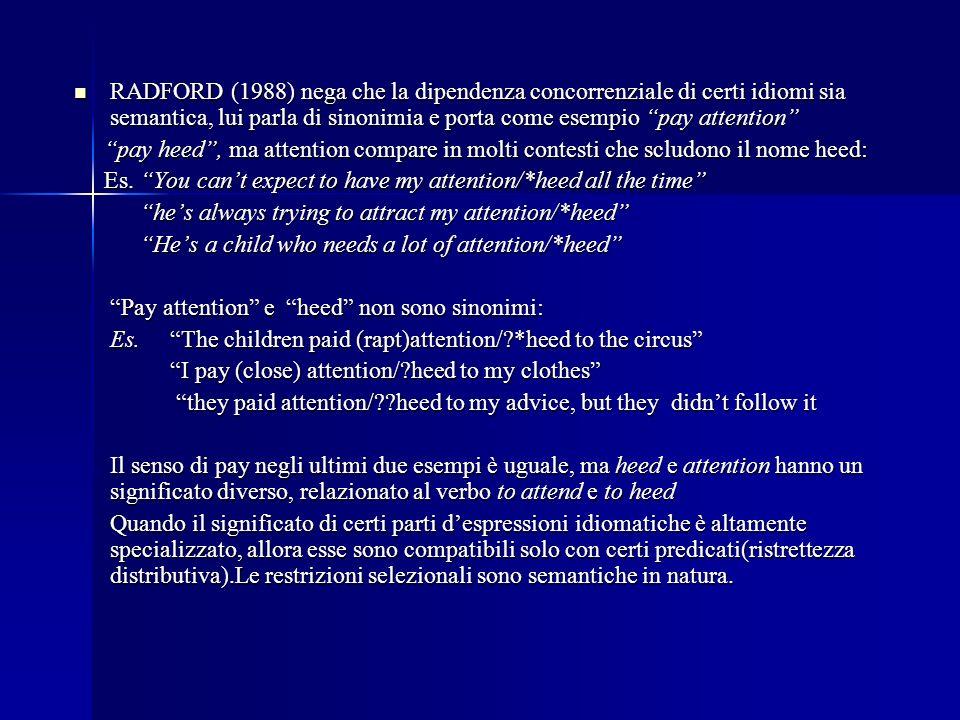 RADFORD (1988) nega che la dipendenza concorrenziale di certi idiomi sia semantica, lui parla di sinonimia e porta come esempio pay attention RADFORD (1988) nega che la dipendenza concorrenziale di certi idiomi sia semantica, lui parla di sinonimia e porta come esempio pay attention pay heed, ma attention compare in molti contesti che scludono il nome heed: pay heed, ma attention compare in molti contesti che scludono il nome heed: Es.