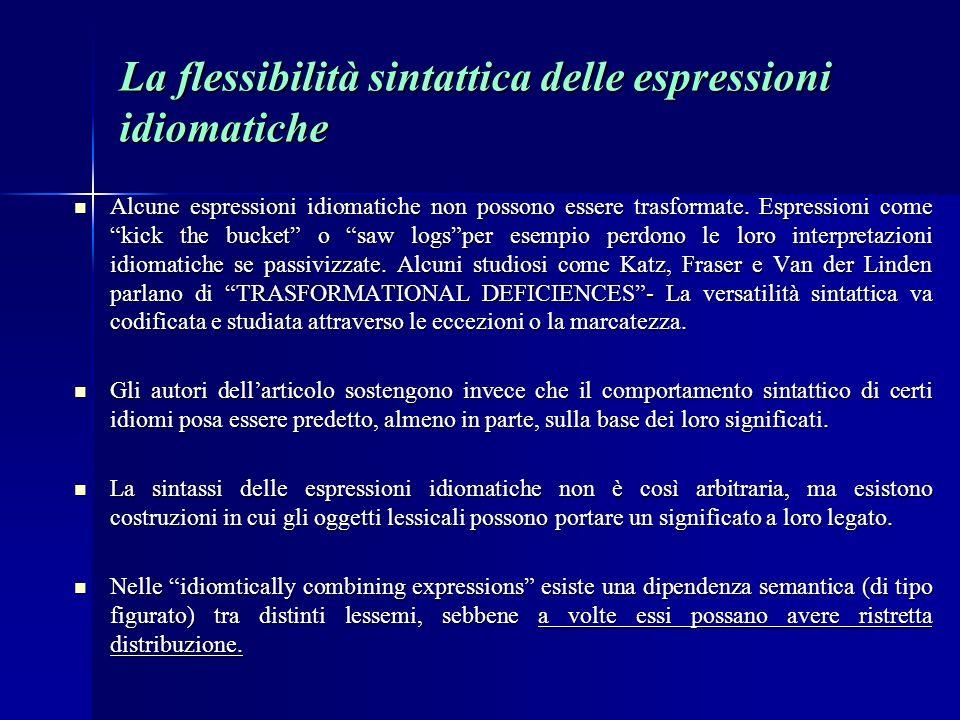 La flessibilità sintattica delle espressioni idiomatiche Alcune espressioni idiomatiche non possono essere trasformate.