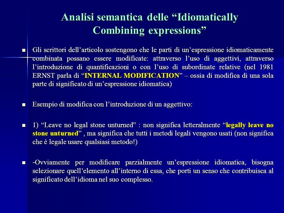 Analisi semantica delle Idiomatically Combining expressions Gli scrittori dellarticolo sostengono che le parti di unespressione idiomaticamente combinata possano essere modificate: attraverso luso di aggettivi, attraverso lintroduzione di quantificazioni o con luso di subordinate relative (nel 1981 ERNST parla di INTERNAL MODIFICATION – ossia di modifica di una sola parte di significato di unespressione idiomatica) Gli scrittori dellarticolo sostengono che le parti di unespressione idiomaticamente combinata possano essere modificate: attraverso luso di aggettivi, attraverso lintroduzione di quantificazioni o con luso di subordinate relative (nel 1981 ERNST parla di INTERNAL MODIFICATION – ossia di modifica di una sola parte di significato di unespressione idiomatica) Esempio di modifica con lintroduzione di un aggettivo: Esempio di modifica con lintroduzione di un aggettivo: 1) Leave no legal stone unturned : non significa letteralmente legally leave no stone unturned, ma significa che tutti i metodi legali vengono usati (non significa che è legale usare qualsiasi metodo!) 1) Leave no legal stone unturned : non significa letteralmente legally leave no stone unturned, ma significa che tutti i metodi legali vengono usati (non significa che è legale usare qualsiasi metodo!) -Ovviamente per modificare parzialmente unespressione idiomatica, bisogna selezionare quellelemento allinterno di essa, che porti un senso che contribuisca al significato dellidioma nel suo complesso.
