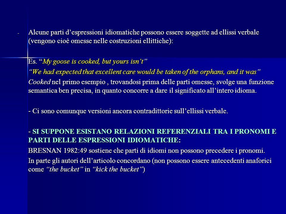 - Alcune parti despressioni idiomatiche possono essere soggette ad ellissi verbale (vengono cioè omesse nelle costruzioni ellittiche): Es.