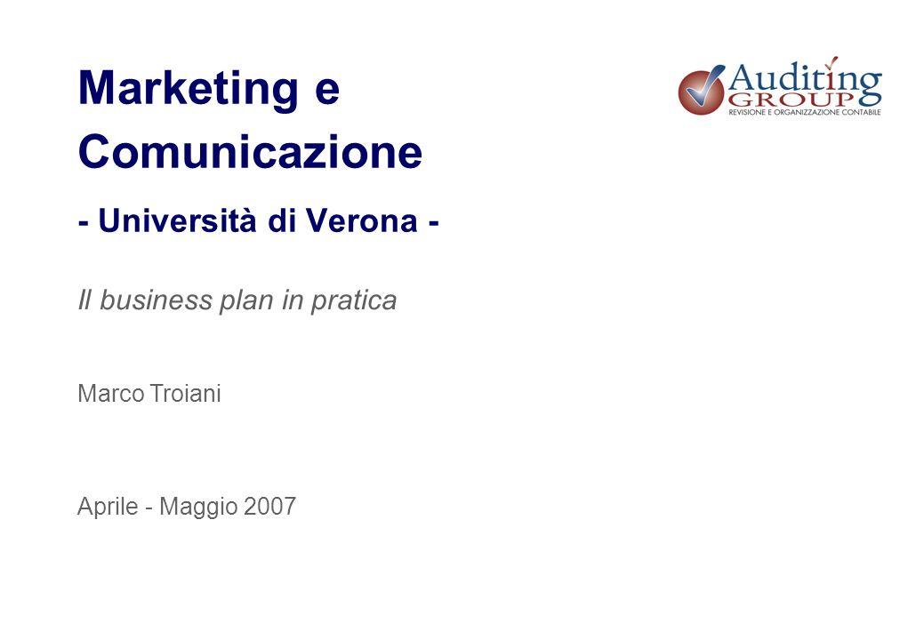 Marketing e Comunicazione - Università di Verona - Il business plan in pratica Aprile - Maggio 2007 Marco Troiani