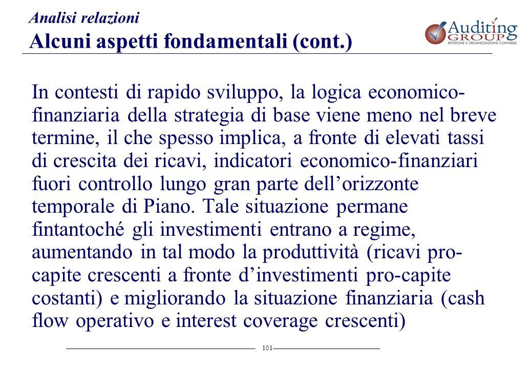 101 Analisi relazioni Alcuni aspetti fondamentali (cont.) In contesti di rapido sviluppo, la logica economico- finanziaria della strategia di base vie