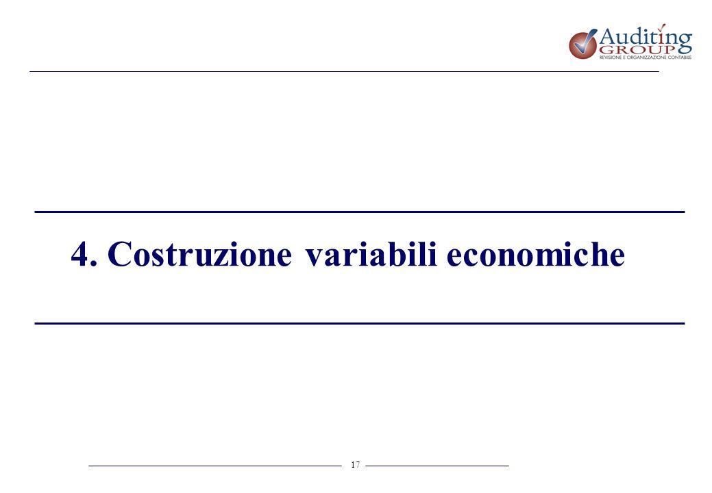 17 4. Costruzione variabili economiche