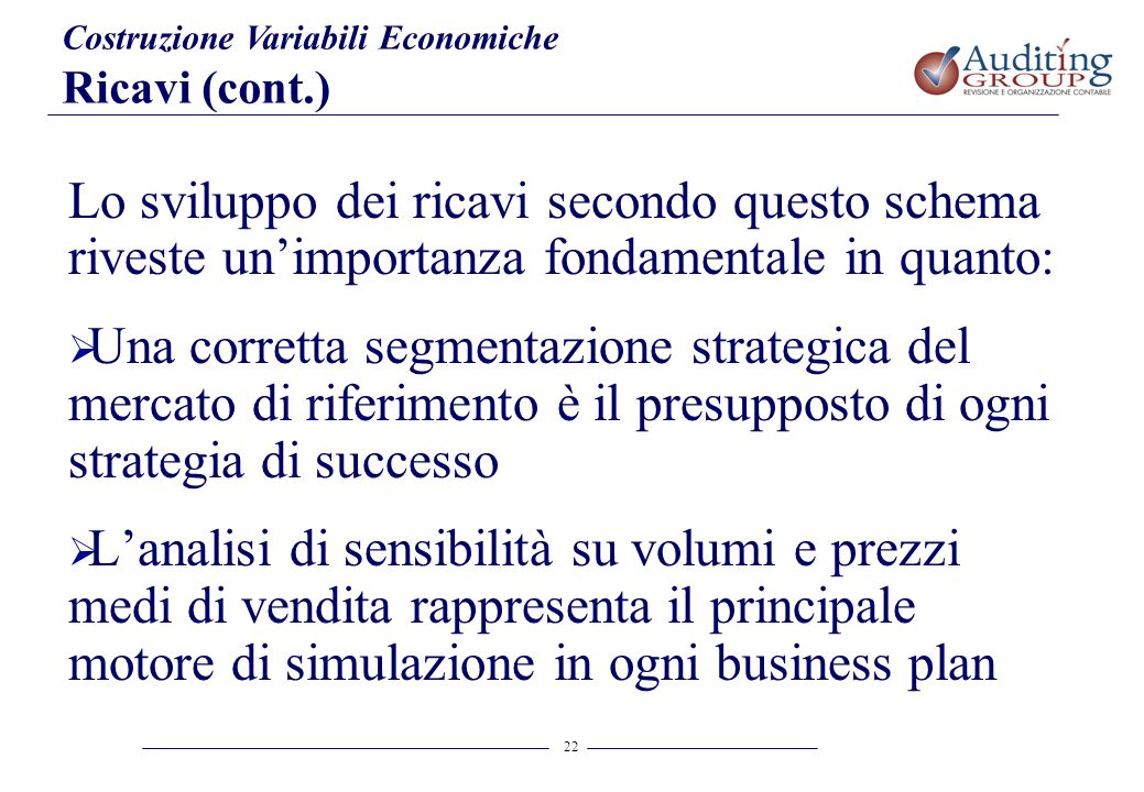 22 Costruzione Variabili Economiche Ricavi (cont.) Lo sviluppo dei ricavi secondo questo schema riveste unimportanza fondamentale in quanto: Una corre