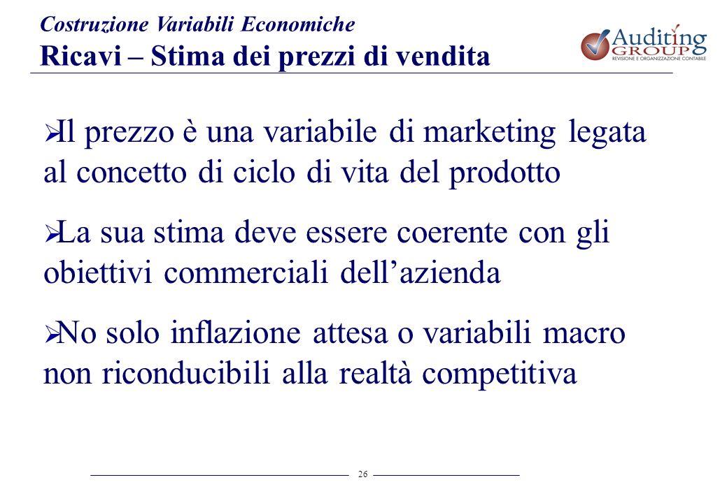 26 Costruzione Variabili Economiche Ricavi – Stima dei prezzi di vendita Il prezzo è una variabile di marketing legata al concetto di ciclo di vita de