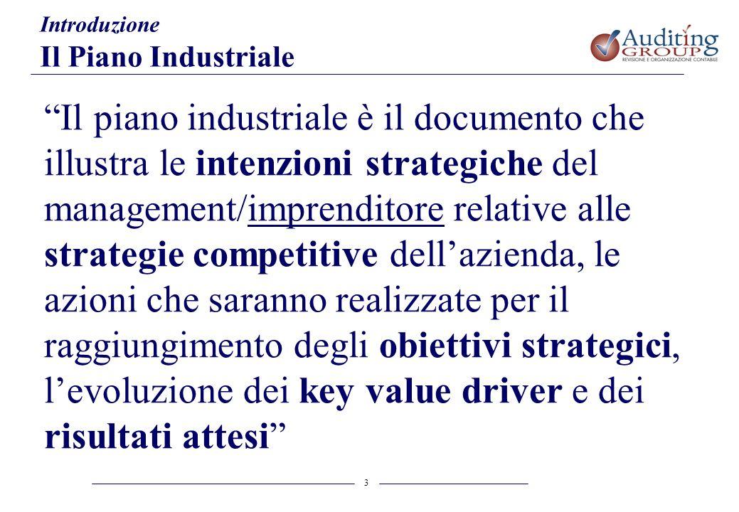 3 Introduzione Il Piano Industriale Il piano industriale è il documento che illustra le intenzioni strategiche del management/imprenditore relative al