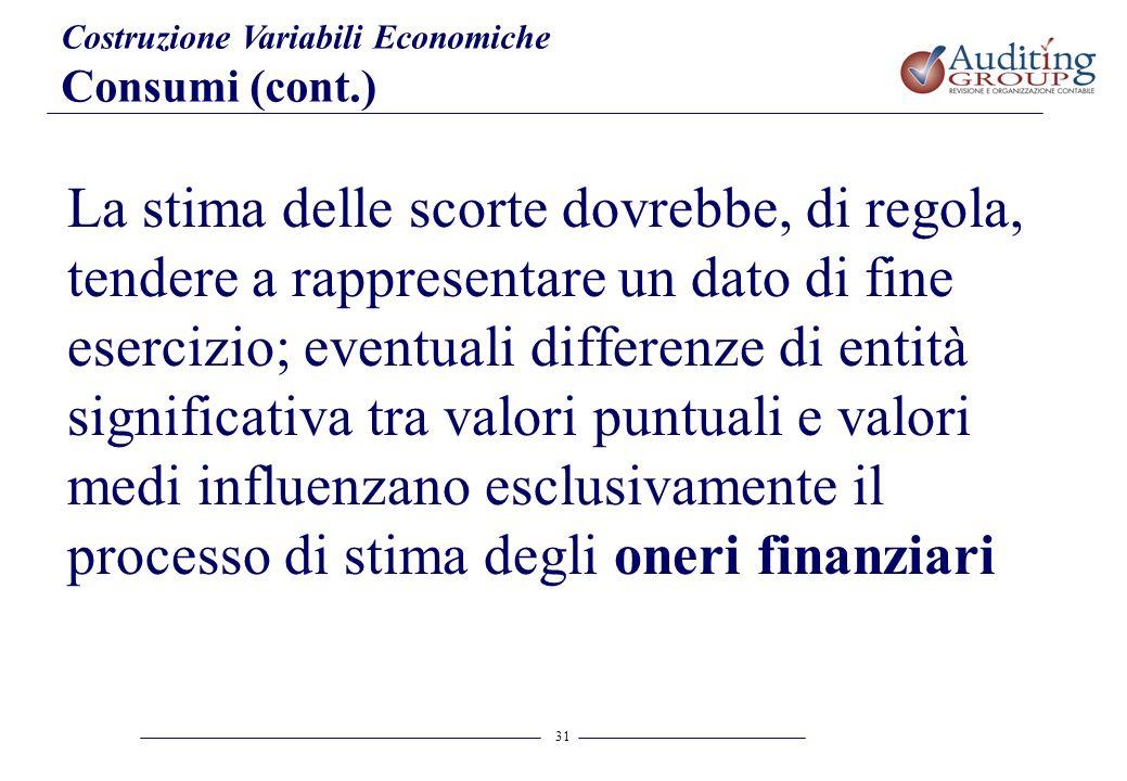 31 Costruzione Variabili Economiche Consumi (cont.) La stima delle scorte dovrebbe, di regola, tendere a rappresentare un dato di fine esercizio; even