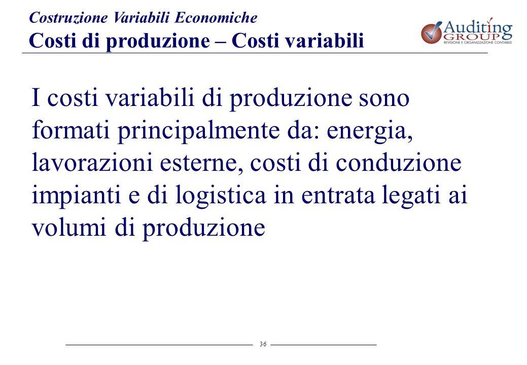 36 Costruzione Variabili Economiche Costi di produzione – Costi variabili I costi variabili di produzione sono formati principalmente da: energia, lav