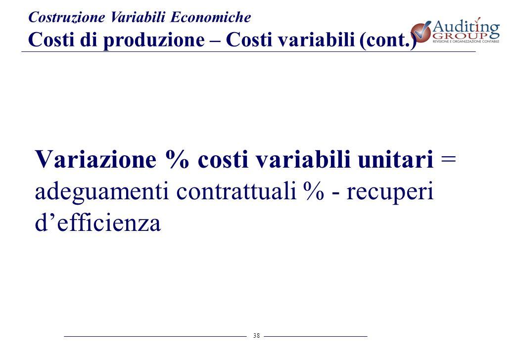38 Costruzione Variabili Economiche Costi di produzione – Costi variabili (cont.) Variazione % costi variabili unitari = adeguamenti contrattuali % -