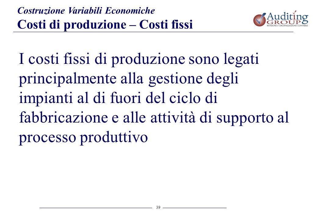 39 Costruzione Variabili Economiche Costi di produzione – Costi fissi I costi fissi di produzione sono legati principalmente alla gestione degli impia