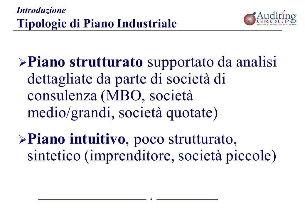 4 Introduzione Tipologie di Piano Industriale Piano strutturato supportato da analisi dettagliate da parte di società di consulenza (MBO, società medi
