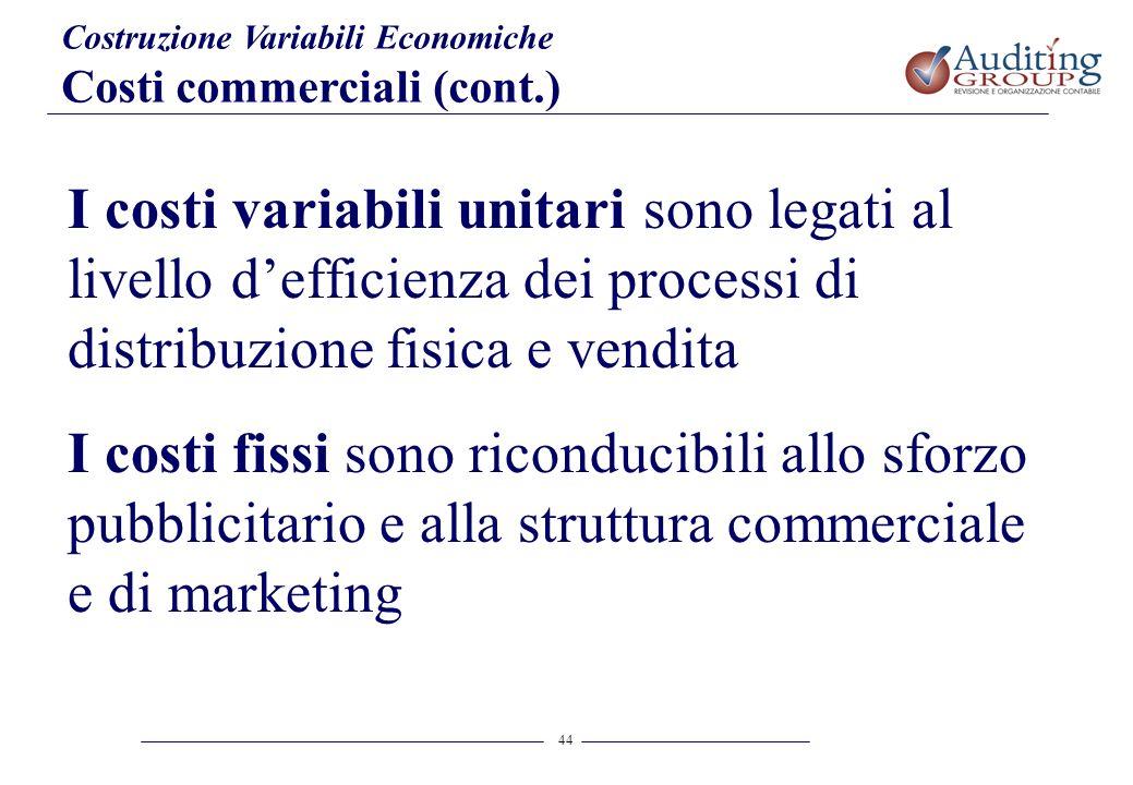 44 Costruzione Variabili Economiche Costi commerciali (cont.) I costi variabili unitari sono legati al livello defficienza dei processi di distribuzio
