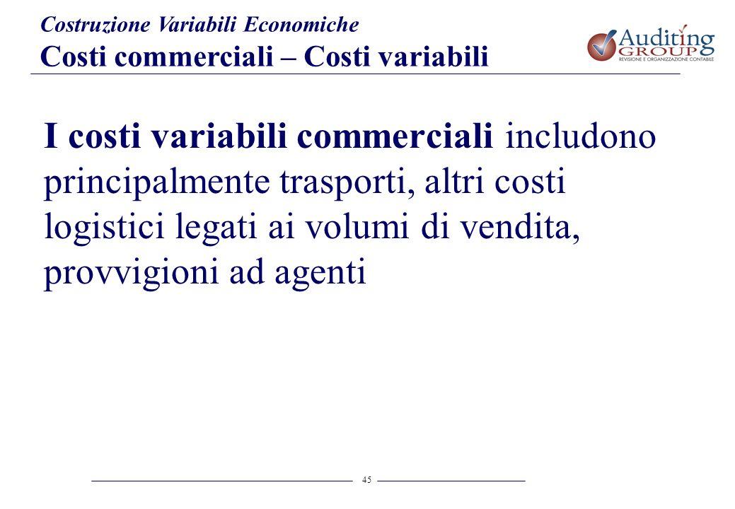 45 Costruzione Variabili Economiche Costi commerciali – Costi variabili I costi variabili commerciali includono principalmente trasporti, altri costi