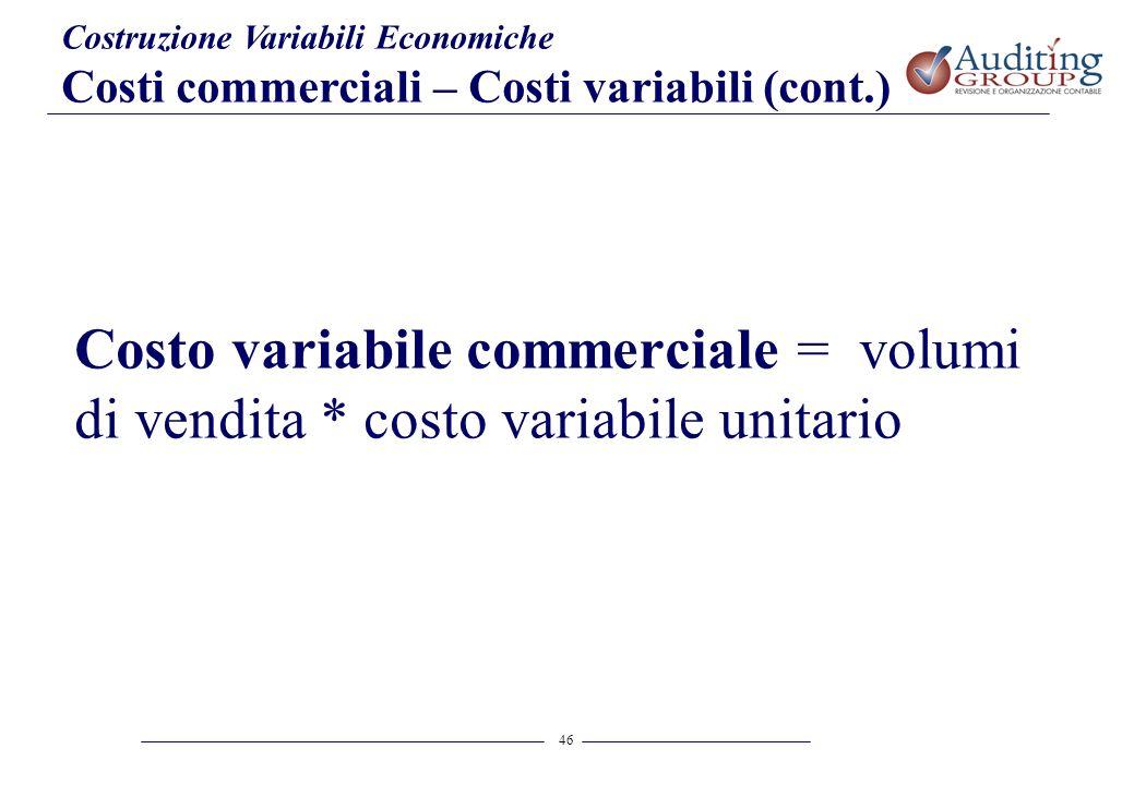 46 Costruzione Variabili Economiche Costi commerciali – Costi variabili (cont.) Costo variabile commerciale = volumi di vendita * costo variabile unit