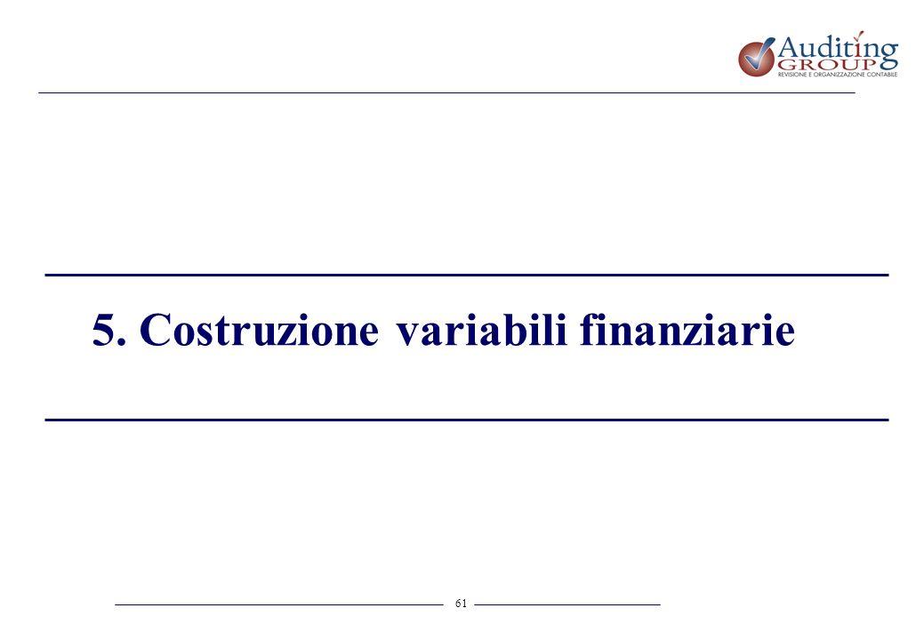 61 5. Costruzione variabili finanziarie