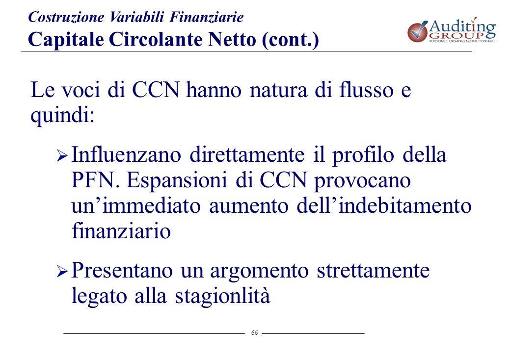 66 Le voci di CCN hanno natura di flusso e quindi: Influenzano direttamente il profilo della PFN. Espansioni di CCN provocano unimmediato aumento dell