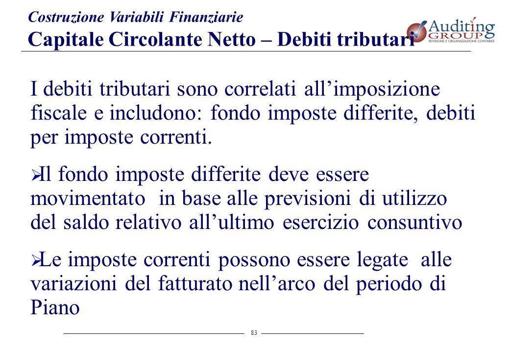 83 Costruzione Variabili Finanziarie Capitale Circolante Netto – Debiti tributari I debiti tributari sono correlati allimposizione fiscale e includono