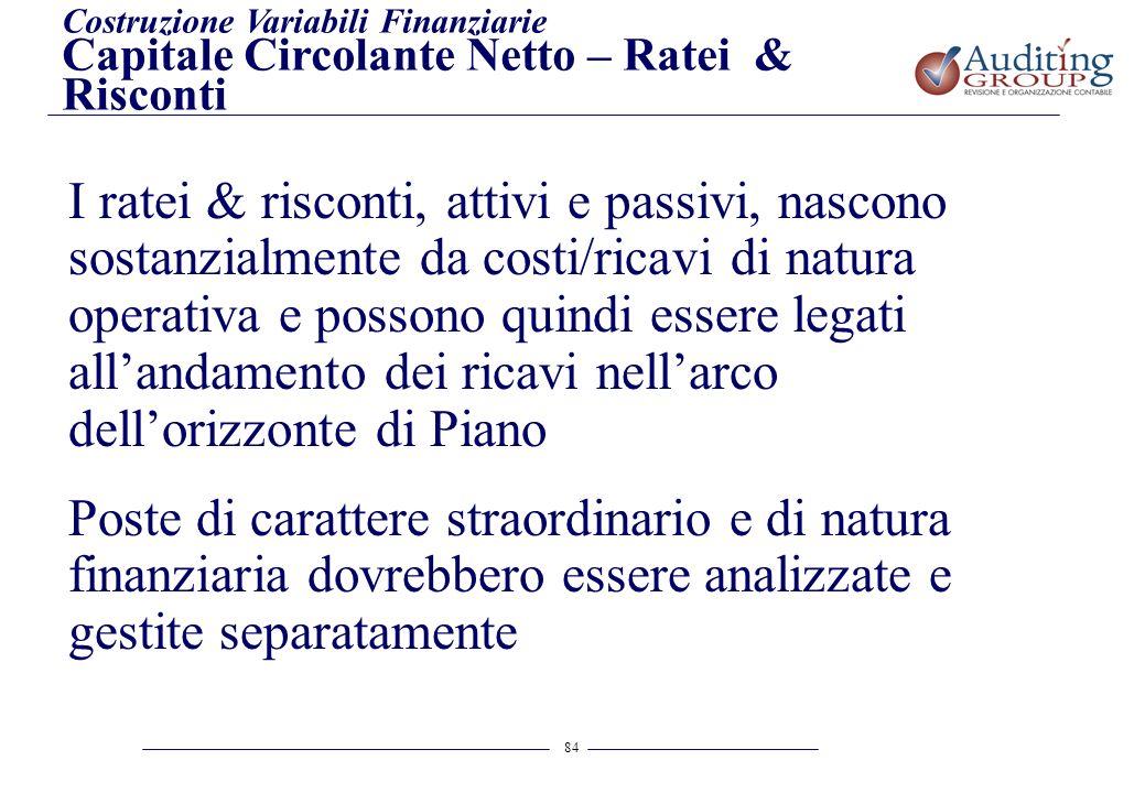 84 Costruzione Variabili Finanziarie Capitale Circolante Netto – Ratei & Risconti I ratei & risconti, attivi e passivi, nascono sostanzialmente da cos