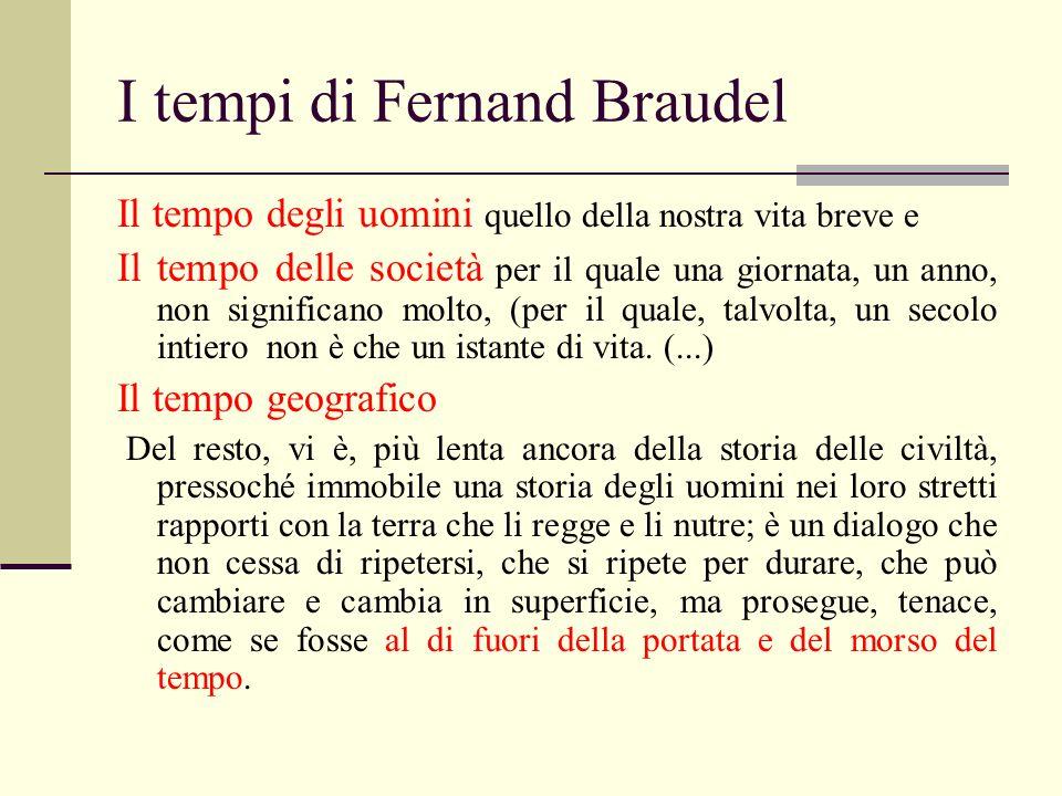 I tempi di Fernand Braudel Il tempo degli uomini quello della nostra vita breve e Il tempo delle società per il quale una giornata, un anno, non signi