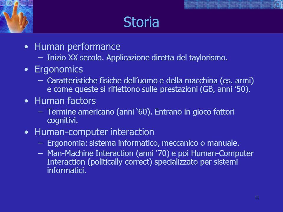 11 Storia Human performance –Inizio XX secolo. Applicazione diretta del taylorismo. Ergonomics –Caratteristiche fisiche delluomo e della macchina (es.