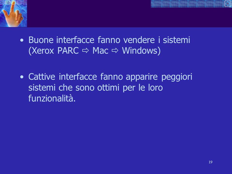 19 Buone interfacce fanno vendere i sistemi (Xerox PARC Mac Windows) Cattive interfacce fanno apparire peggiori sistemi che sono ottimi per le loro fu