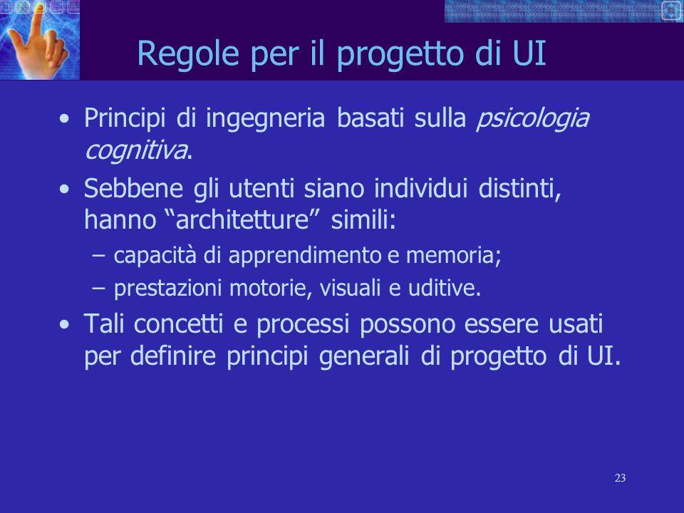 23 Regole per il progetto di UI Principi di ingegneria basati sulla psicologia cognitiva. Sebbene gli utenti siano individui distinti, hanno architett